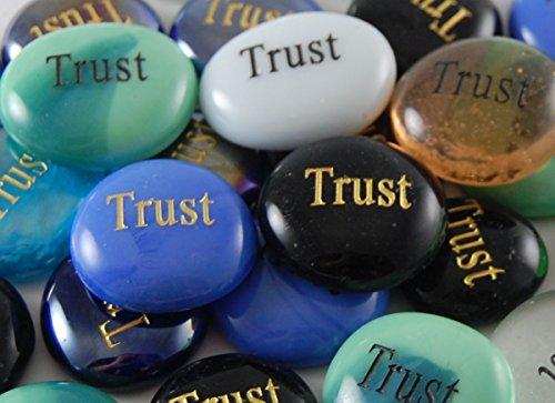 Set of 6 Trust Engraved Glass Spirit Stones