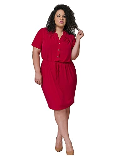 TD New York MERCEDES Curvy Women's Button Front Plus Size Dress with Sleeves, Shirt Dress