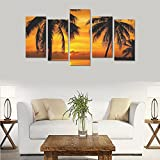 Unique Landscape Art Oil Painting Decoration Horse sunset sky Custom 100% Canvas Material Canvas Print Bedroom Wall Art Living Room Mural Decoration 5 Piece Canvas painting (No Frame)