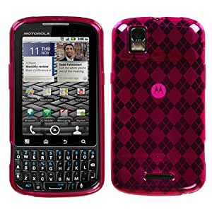 Soft Skin Case Fits Motorola XT610 A957 Droid Pro Hot Pink Argyle Candy Skin Verizon (Please carefully check your device model to order the correct version.)