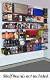 "Quickly and easily create a ceiling mounted shelving unit in your garage, basement, shed, or wherever else desired. This kit delivers a total of four 12"" tall shelves and two 16"" tall shelves. Once the top shelf is hung, the remainder of shel..."
