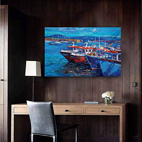 duommhome Country Modern Frameless Painting Sail Boats Ships on The Shore Harbor by The Sea Small Rural Fishing Town Artwork Bedroom Bedside Painting 35