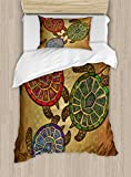 Ambesonne Turtle Duvet Cover Set Twin Size, Three Ocean Turtles Ethic Style Animals Geometric Vibrant Ocean Theme Artwork Print, Decorative 2 Piece Bedding Set with 1 Pillow Sham, Multicolor