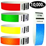 Goldistock 3/4'' Tyvek Wristbands Rainbow 10,000 Ct. Variety Pack- 2,000 Each: Neon Blue, Green, Yellow, Orange, Red
