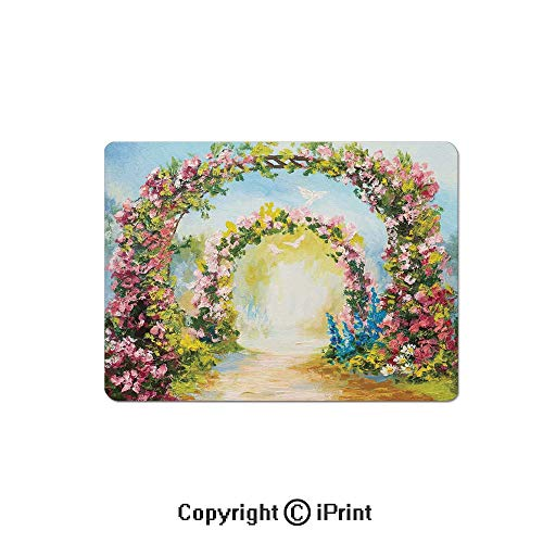 Oversized Mouse Pad,Colorful Floral Arch in The Summer Park Romantic Feminine Boho Paint Style Print Decorative Gaming Keyboard Pad,9.8x11.8 inch Non-Slip Office Computer Desk Mat,Multicolor