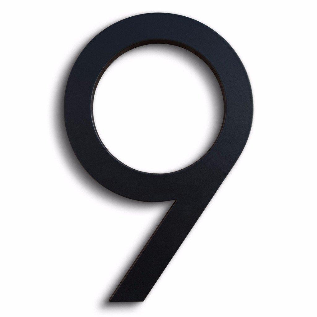 Modern House Number BLack Color Aluminum Modern Font Number Nine ''9'' 6 inch