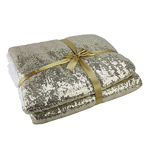 Northlight Christmas Glittering and White Throw Blanket, Gold (Throw Blanket Gold Sequin)