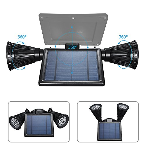 Solar Lights Outdoor, Waterproof Double Spotlights