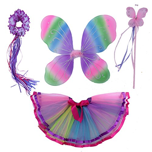 4 PC Girls Fairy Monarch Princess Costume Set with Wings, Tutu, Wand & Halo (Rainbow) -