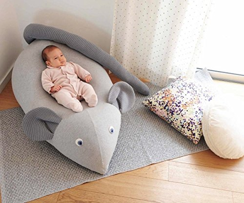 Huge Mouse Beanbag pillow, baby beanbag, floor pillow, kids beanbag pouf- Grey & navy by Pockets Baby & kids