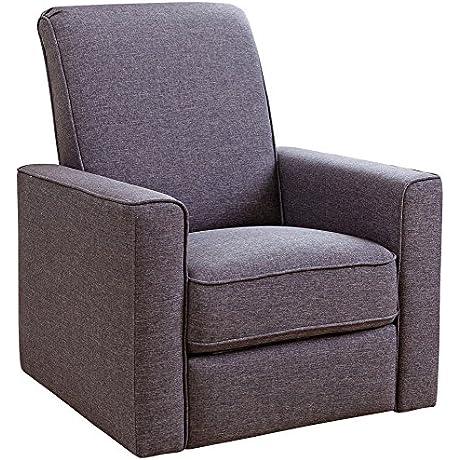 Abbyson Living Hampton Nursery Swivel Glider Recliner Chair In Gray