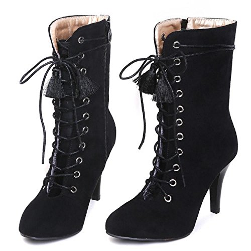 Fashion Out Cut Taoffen Zipper Women Stiletto Black Ankle Autumn Boots Booties 7qSwA6wx5
