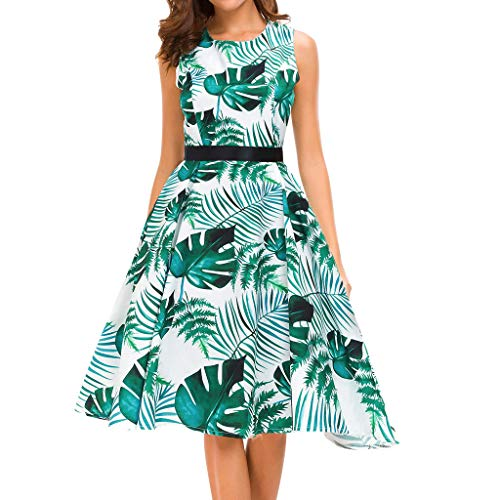 Ximandi Women's Vintage Floral Print O-Neck Sleeveless Belted Casual Swing Knee-Length Coctail Dress White ()
