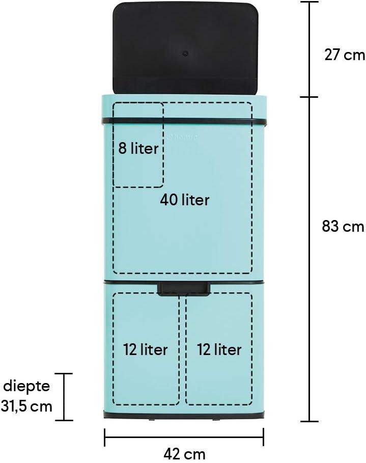 Homra Nexo Cubo de basura con sensor - Cubo de basura con pedal de acero inoxidable Cubo de basura con 3 compartimentos 2 x 12 + 1 x 48 L 72 litros