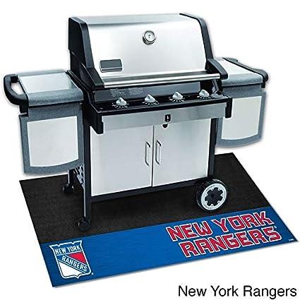 "54cf194b3e2 42""x26"" Black NHL New York Rangers BBQ Grill Mat Sports Hockey  Patio Deck"