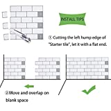 """Peel and Stick Subway Tile Backsplash, White with Gray Grout, 11.26"""" x 10"""" Pack of 8"""
