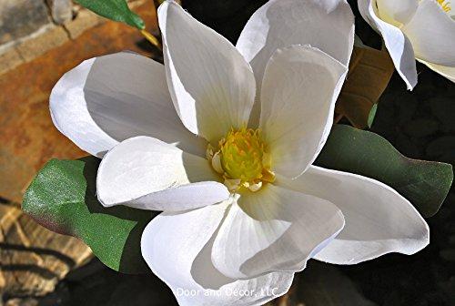 Southern magnolia stems~magnolia bloom stems~magnolia decor~faux magnolia blooms~farmhouse decor~rustic decor~magnolia bouquet by Door and Decor, LLC