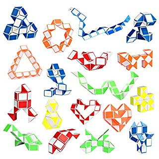 Ganowo 18 Pack Fidget Snake Cube Mini Twist PuzzleToys for Kids Teens Stocking Stuffer, Birthday Party Favors, Goodie Bags Fillers, Classroom Rewards