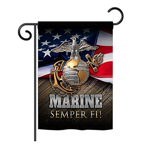 "Angeleno Heritage - Marine Semper Fi Americana - Everyday Military Impressions Decorative Vertical Garden Flag 13"" x 18.5"" Printed in USA from Angeleno Heritage"