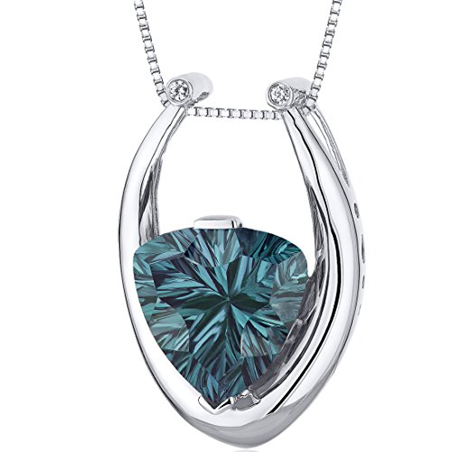 Concave Trillion Cut 8.00 carats Sterling Silver Rhodium Finish Simulated Alexandrite Pendant