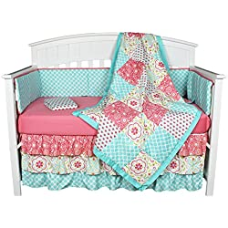 Gia Floral Coral/Blue 8-In-1 Baby Girl Crib Bedding Collection