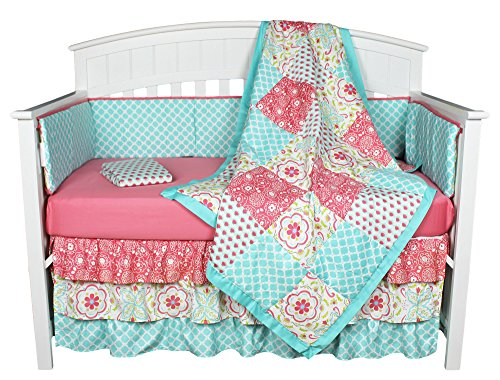 Gia Floral Coral/Blue 8-in-1 Baby Girl Crib Bedding Collection - Patchwork Crib Bedding Collection
