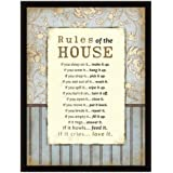 Rules Of The House Wood Frame Plaque with Easel