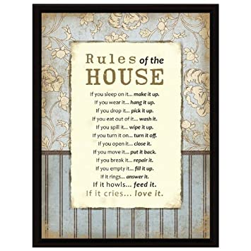 Amazon.com: Rules Of The House Wood Frame Plaque with Easel: Home ...