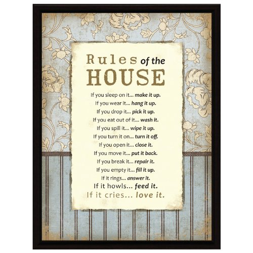 Rules Of The House Wood Frame Plaque with ()