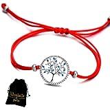 Lilloubella Bracelet Arbre de Vie Fil Rouge Chance Zircon cubique Bleu Fil  Rouge réglable pour Femme 7abc04e010bf