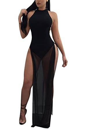 690a329197d Aro Lora Women s Halter Neck Backless Mesh High Slits Maxi Dress Overlay Rompers  Jumpsuit Bodysuit Small