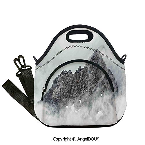 AngelDOU Farmhouse Decor Neoprene Lunch Tote bag With shoulder strap Landscape of Jade Dragon Mountain Atmosphere on Summit Asian Natural Beauty Outdoor Travel Picnic Beach Party12.6x12.6x6.3(inch)