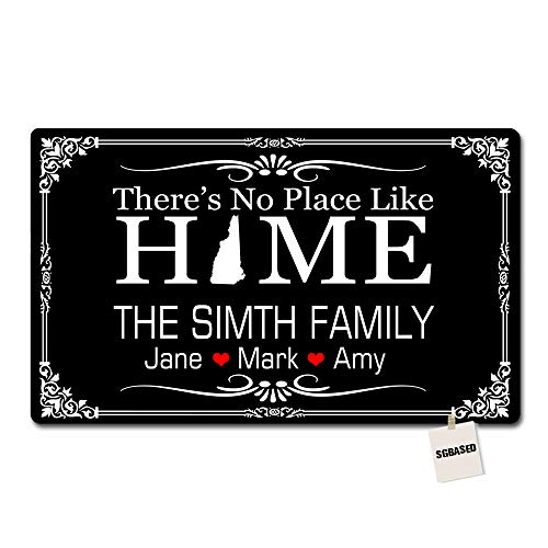 (SGBASED There is No Place Like Home Doormat Personalized Monogram Door Mat Entrance Floor Mat Home New Hampshire Mat Decorative Rug Doormat Non-Woven Fabric 15.7-Inch by 23.6-Inch)