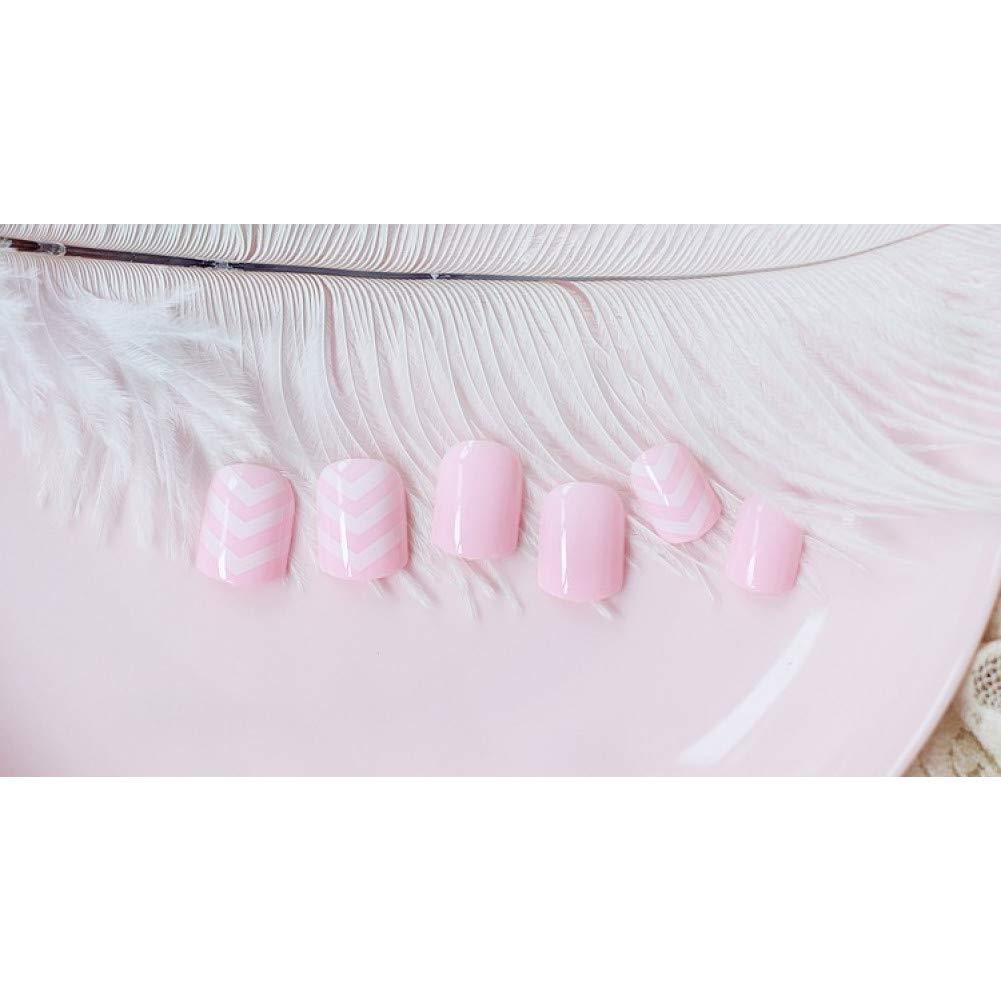 QULIN Uñas postizas Super lindo color rosa 3D moda estilo plástico ...