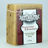 Handmade Herbal 100% Raw Goat Milk Peppermint & Rosemary Soap (4.5oz./Bar)