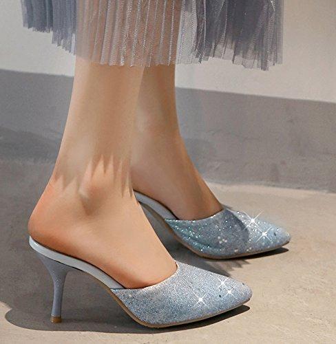 Paillettes 8cm Stiletto Soirée Aisun Femme Bleu Mules Brillant Unique O4wqSzxv