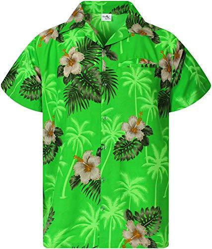 King Kameha Funky Hawaiian Shirt, Shortsleeve, Small Flower, Green, XL