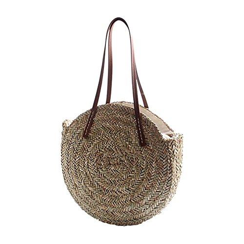 Beach Bohemia Shoulder Bags Travel Round Wind Meaeo Summer Circle Straw Women Rattan H5wx6nqZtf