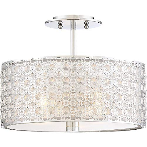 Quoizel PCVY1714C Verity Crystal Semi Flush Mount Ceiling Lighting, 3-Light, 300 Watts, Polished Chrome (12