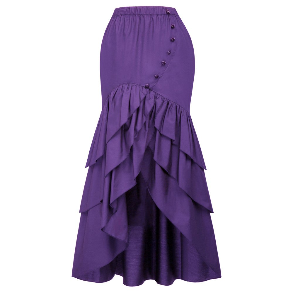 Belle Poque Vintage Steampunk Gothic Victorian Ruffled High-Low Skirt BP000406 (X-Large, Purple) by Belle Poque