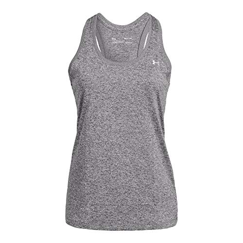 Under Armour Tech Sleeveless Tee - Under Armour womens Tech Solid Tank Top, Charcoal Light Heath (019)/Metallic Silver, Large