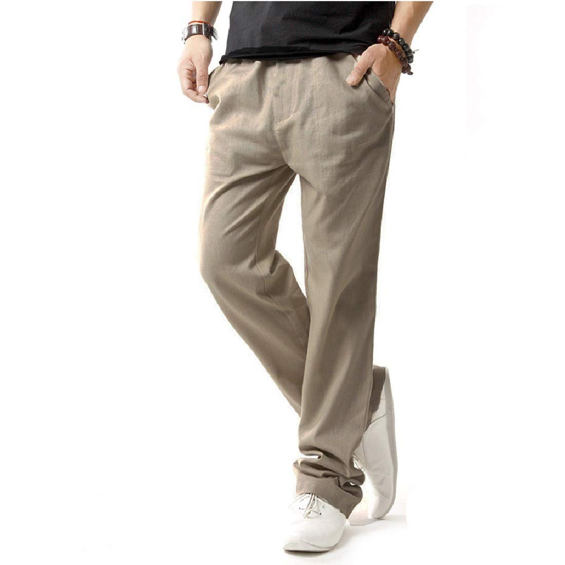 pipigo Mens Linen Beach Drawstring Casual Solid Color Straight Leg Loose Fit Pants Beige XS