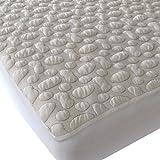 40-Winks Organic Cotton Pebble-Puff Waterproof Mattress Pad Protector, Natural, Twin X-Large