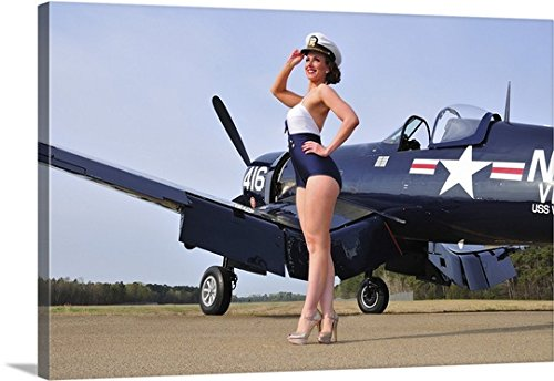 Christian Kieffer Premium Thick-Wrap Canvas Wall Art Print entitled 1940's style Navy pin-up girl posing with a vintage Corsair aircraft by Canvas on Demand