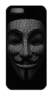 iPhone 5S Case Cover - Anonymous Mask Black PC Hard Case Back Cover for iPhone 5S/5 - Black
