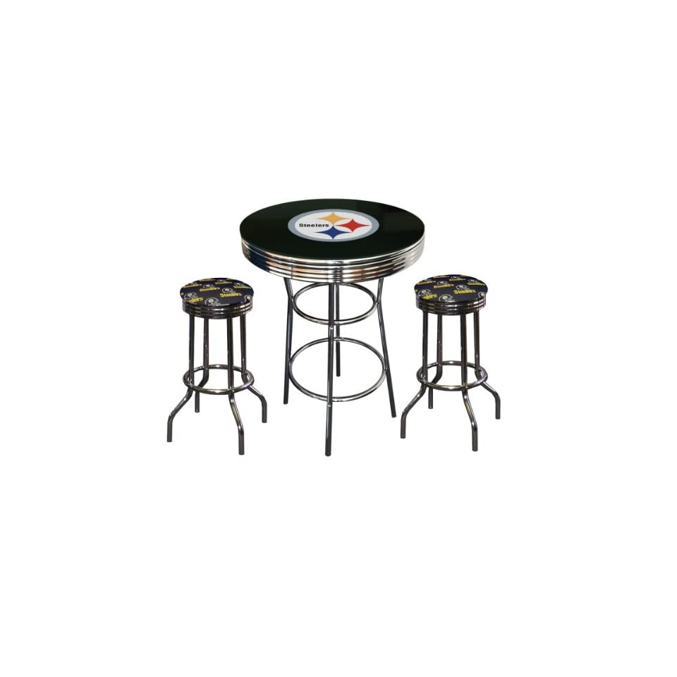 3 Piece Pittsburgh Steelers Logo Chrome Finish Black Pub Table with 2 Bar Stools   Home Bars