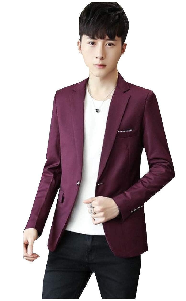 Wine Red Unastar Men's Notch Lapel Patch Slim Slim Slim Fitted Single Button Blazer Jackets e97311