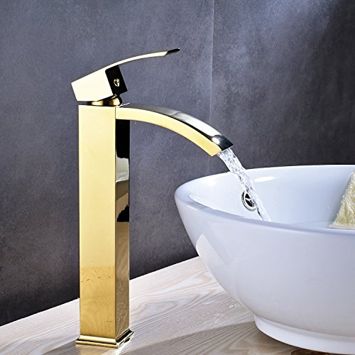 Wovier Gold Polished Finish Waterfall Bathroom Sink Faucet With Drain,Single Handle Single Hole Vessel Lavatory Faucet,Basin Mixer Tap Tall Body With Pop Up (Gold Vessel Lavatory Spouts)