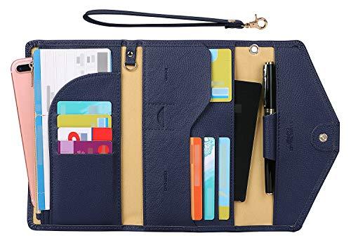 Zoppen Passport Holder Travel Wallet (Ver.5) for Women Rfid Blocking Multi-purpose Passport Cover Document Organizer Strap,Navy Blue
