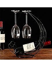 CdyBox Creative Wine Rack Furnishing Articles, Wrought Iron Wine Bottle Holder, European-Style Goblet Glass Hanging Holder (Black)